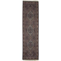 Traditional Hand Knotted Wool Charcoal 3' x 10' Rug - pr000738