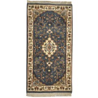 Traditional Hand Knotted Wool Charcoal 2' x 4' Rug - pr000740
