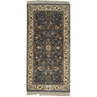 Traditional Hand Knotted Wool Black 2' x 5' Rug - pr000741