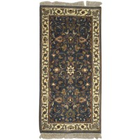 Traditional Hand Knotted Wool Black 2' x 5' Rug - pr000745