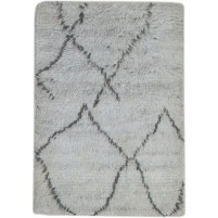 Modern Hand Knotted Wool Grey 2' x 3' Rug - pr000788