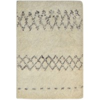 Modern Hand Knotted Wool Ivory 2' x 3' Rug - pr000789