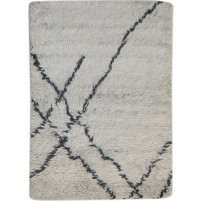 Modern Hand Knotted Wool Ivory 2' x 3' Rug - pr000791