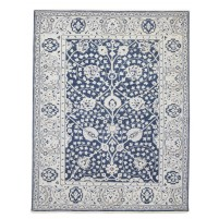 Traditional Hand Knotted Wool Blue 8' x 10' Rug - rh000006