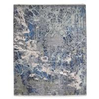 Modern Hand Knotted Wool / Silk Grey 8' x 10' Rug - rh000009
