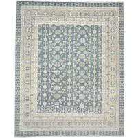 Traditional Hand Knotted Wool Olive 8' x 10' Rug - rh000019