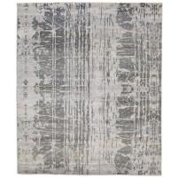 Modern Hand Knotted Wool / Silk Grey 8' x 10' Rug - rh000023