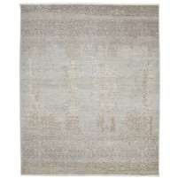 Modern Hand Knotted Wool / Silk Grey 8' x 10' Rug - rh000026