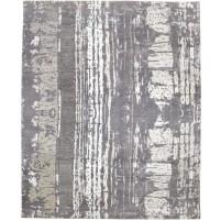 Modern Hand Knotted Wool / Silk Grey 8' x 10' Rug - rh000035