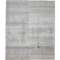 Modern Hand Knotted Wool / Silk Grey 8' x 10' Rug - rh000037