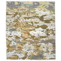Modern Hand Knotted Wool Gold 8' x 10' Rug - rh000039