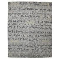 Modern Hand Knotted Wool / Silk Grey 8' x 10' Rug - rh000040
