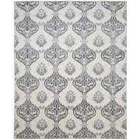 Modern Hand Knotted Wool / Silk Ivory 8' x 10' Rug - rh000047