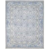 Modern Hand Knotted Wool / Silk Blue 8' x 10' Rug - rh000052
