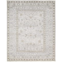 Traditional Hand Knotted Wool / Silk Grey 8' x 10' Rug - rh000053