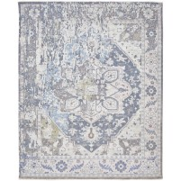 Modern Hand Knotted Wool / Silk Grey 8' x 10' Rug - rh000056