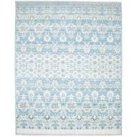 Modern Hand Knotted Wool / Silk Blue 8' x 10' Rug - rh000058