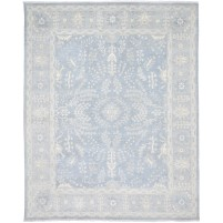 Traditional Hand Knotted Wool / Silk Blue 8' x 10' Rug - rh000065