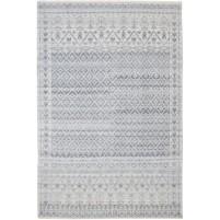 Modern Hand Knotted Wool / Silk Charcoal 6' x 9' Rug - rh000073