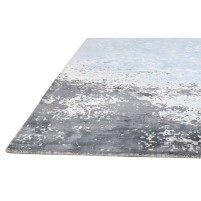 Erased Handloom Silk Blue 5' x 8' Rug - rh000074