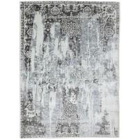 Distressed Look Handloom Silk Silver 5' x 8' Rug - rh000077