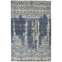 Modern Hand Knotted Wool / Silk Charcoal 6' x 9' Rug - rh000078