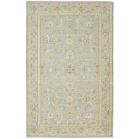 Traditional Hand Knotted Wool Grey 6' x 9' Rug - rh000083