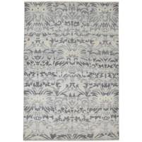 Modern Hand Knotted Wool / Silk Grey 6' x 9' Rug - rh000085