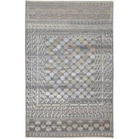 Transitional Hand Knotted Wool / Silk Charcoal 6' x 9' Rug - rh000094