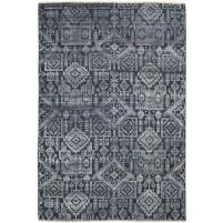 Modern Hand Knotted Wool / Silk Black 6' x 9' Rug - rh000096
