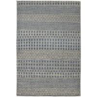Modern Hand Knotted Wool / Silk Grey 6' x 9' Rug - rh000107