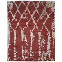 Modern Hand Knotted Wool / Silk Red 8' x 10' Rug - rh000110
