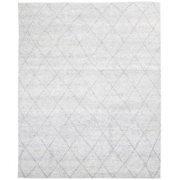 Modern Hand Knotted Wool / Silk Ivory 8' x 10' Rug - rh000111
