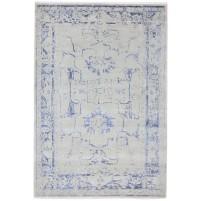 Modern Hand Knotted Wool / Silk Silver 6' x 9' Rug - rh000116