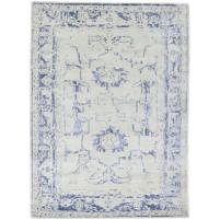 Modern Hand Knotted Wool / Silk Silver 5' x 7' Rug - rh000117