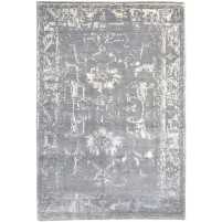 Modern Hand Knotted Wool Grey 4' x 6' Rug - rh000122
