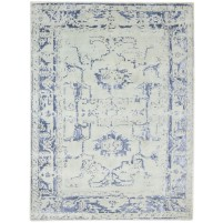 Modern Hand Knotted Wool Silver 5' x 7' Rug - rh000125