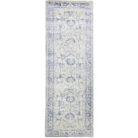 Modern Hand Knotted Wool Silver 3' x 9' Rug - rh000126