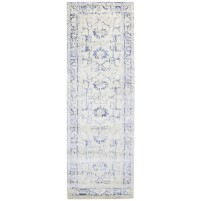 Modern Hand Knotted Wool Silver 3' x 9' Rug - rh000127