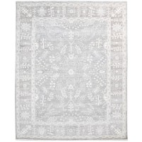 Traditional Hand Knotted Wool / Silk Grey 8' x 10' Rug - rh000131