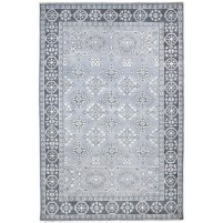 Traditional Hand Knotted Wool grey 6' x 9' Rug - rh000141