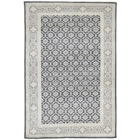 Traditional Hand Knotted Wool Black 6' x 9' Rug - rh000142