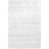 Modern Hand Knotted Wool / Silk Silver 6' x 9' Rug - rh000143