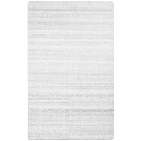 Modern Hand Knotted Wool / Silk Silver 5' x 8' Rug - rh000145