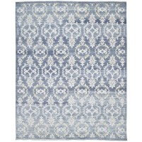 Modern Hand Knotted Wool / Silk Blue 8' x 10' Rug - rh000157
