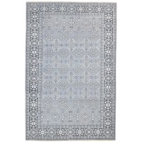 Traditional Hand Knotted Wool Grey 6' x 9' Rug - rh000168