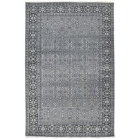 Traditional Hand Knotted Wool Grey 6' x 9' Rug - rh000169