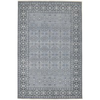 Traditional Hand Knotted Wool Grey 6' x 9' Rug - rh000173