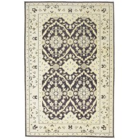 Traditional Hand Knotted Wool Brown 6' x 9' Rug - rh000174