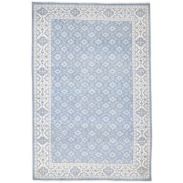 Traditional Hand Knotted Wool Blue 6' x 9' Rug - rh000178